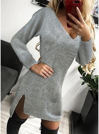 固体 Knit 長袖 シースドレス 膝上 カジュアル セーター ドレス