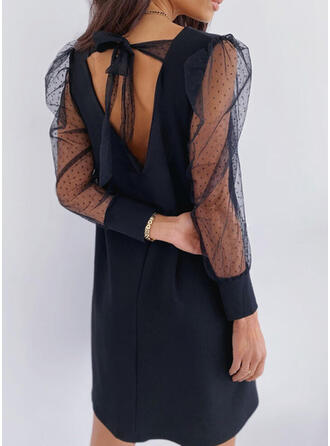 Solid Long Sleeves/Puff Sleeves Shift Above Knee Casual/Elegant Dresses