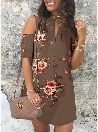 Impresión/Floral Manga Corta/Top sin hombros Cubierta Sobre la Rodilla Casual/Elegante Vestidos