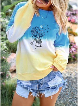 Print Dandelion Letter Round Neck Long Sleeves Sweatshirt