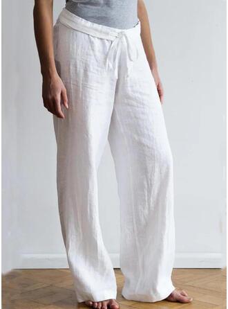 Solid Plus Size Drawstring Boho Casual Lounge Pants