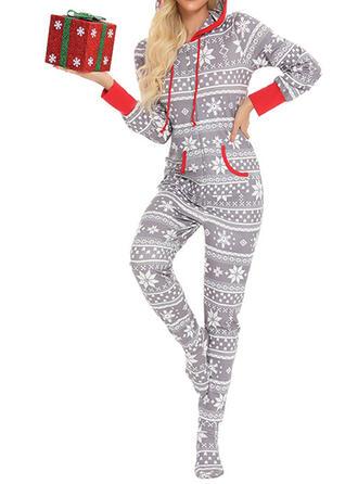 Algodão Manga Comprida Natal Cordão Conjunto de pijama
