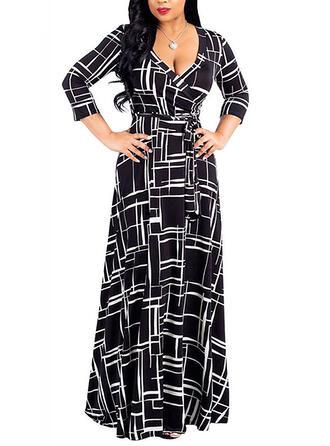 Plus Size Print 3/4 Sleeves A-line Maxi Casual Elegant Dress