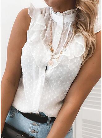 Sólido Encaje Cuello de Erguido Sin mangas Con Botones Casual Elegante Camisetas sin mangas