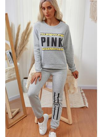 Bogstav Print Casual sweatshirts & 2-delt tøj sæt