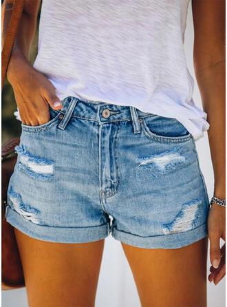 Sólido Por encima de la rodilla Casual Bolsillo shirred rasgados Botones Pantalones Pantalones cortos Vaqueros