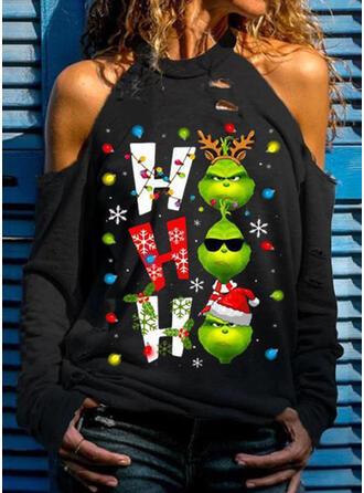 Nyomtatás Ábra Lezser Hosszú ujjú Karácsonyi pulóver