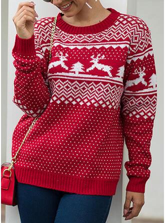 Impresión Punto De Cable Navidad Cuello Redondo Suéter de Navidad Feo