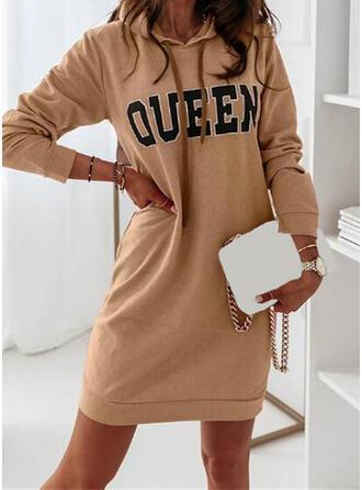 印刷/文字 長袖 シフトドレス 膝上 カジュアル スウェットシャツ ドレス