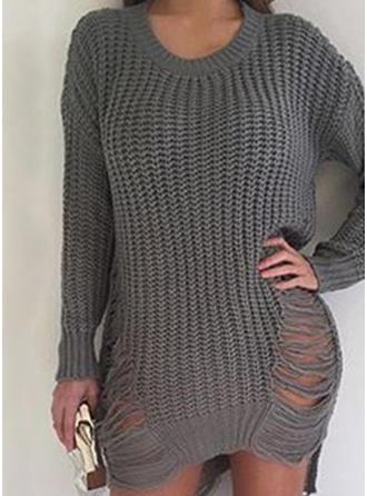 Sólido/Punto Grueso/Acanalado Manga Larga Casual Vestidos