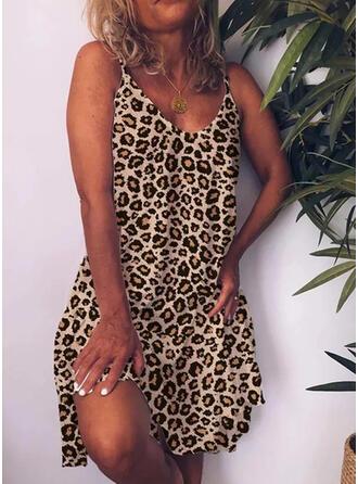Leopardo Sin mangas Tendencia Sobre la Rodilla Casual Vestidos