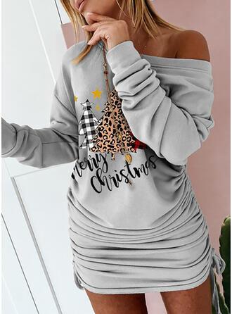Estampado/Xadrez/Leopardo Manga Comprida Bodycon Acima do Joelho Natal/Casual Sweatshirt Vestidos