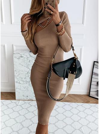 Egyszínű Hosszú ujjú Testre simuló ruhák Térdig érő Kis fekete/Hétköznapokra Ołówkowa φορέματα