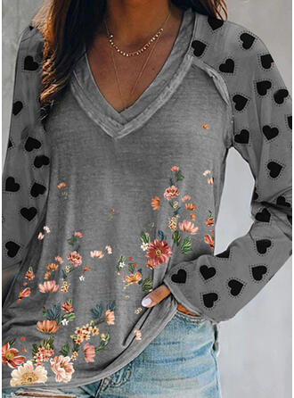 Floral Heart Print V-Neck Long Sleeves T-shirts