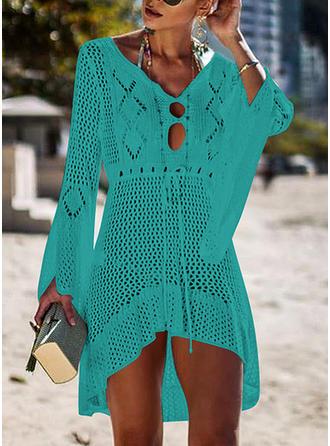 Couleur Unie Col V Sexy Tenues de plage Maillots De Bain