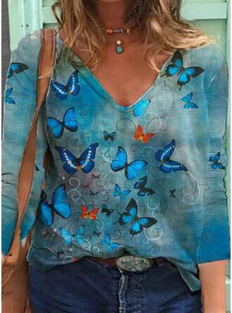Imprimé papillon Col V Manches 3/4 Sweat-shirts