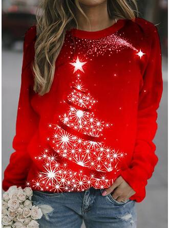 Impressão Neck redonda Manga comprida Camisola de Natal