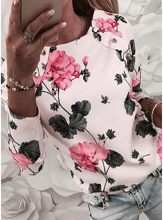 Print Floral Round Neck Long Sleeves Casual Elegant Blouses