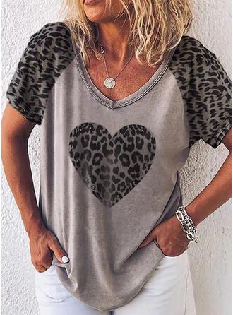 """Leopard Srdce Výstřih do """"V"""" Krátké rukávy Trička"""
