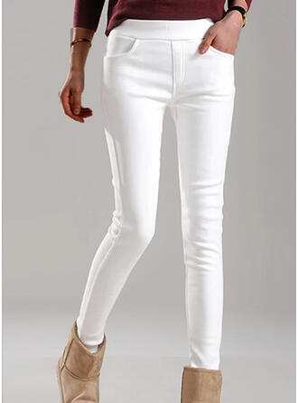 Couleur Unie Froncé Grande taille Élégante Maigre Pantalon