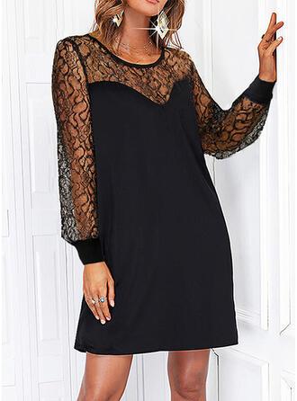 Solid Lace/Sequins Long Sleeves Shift Above Knee Little Black/Elegant Dresses