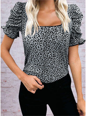 Leopard Square Collar Short Sleeves T-shirts