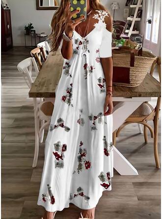 Tisk/Květiny Krajka 1/2 rukávy Cold Ramen Sleeve Do tvaru A Skaterové Neformální Maxi Šaty