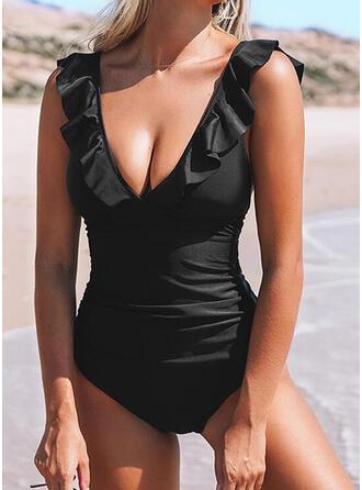 Jednolity kolor Falbany W prążki Dekolt w kształcie litery V Seksowny Bikini Stroje kąpielowe