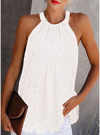 Solid Lace Cold Shoulder Sleeveless Casual Tank Tops