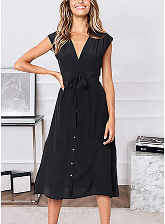 Solid Sleeveless A-line Skater Casual Midi Dresses