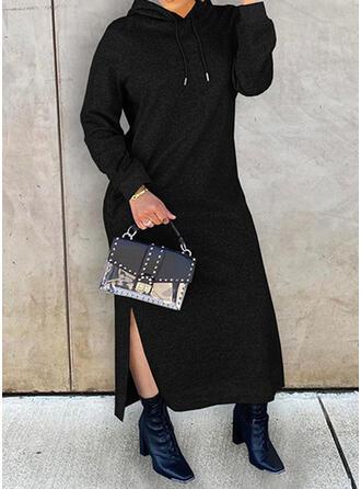 Solid Long Sleeves Dropped Shoulder Shift Sweatshirt Little Black/Casual Maxi Dresses