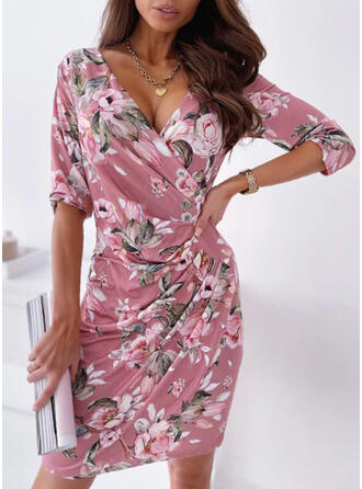 Print/Floral 3/4 Sleeves Sheath Knee Length Casual Dresses