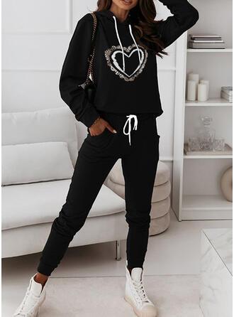 Hjerte Print Sporty Casual Plus størrelse sweatshirts & 2-delt tøj sæt