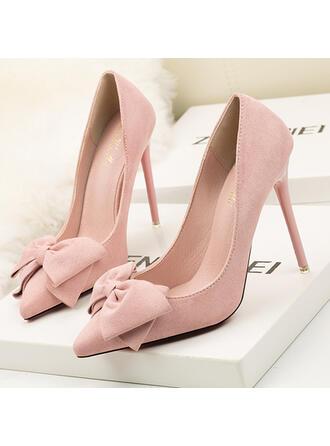 De mujer Ante Tacón stilettos Salón Tacones con Bowknot Color sólido zapatos