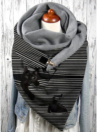 Rayé/Faune attrayant/mode/Chat noir Écharpe