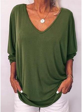 Jednolity Dekolt w kształcie litery V Rękaw 3/4 Casual Dzianina T-shirty