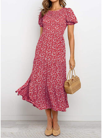 Print Short Sleeves/Puff Sleeves A-line Skater Casual/Elegant Midi Dresses