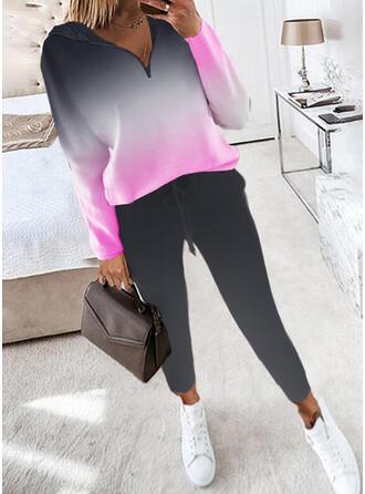 印刷 カジュアル プラスサイズ スウェット & ツーピースの服 Set ()
