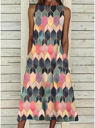 Impresión/Geométrico Sin mangas Vestidos sueltos Casual Midi Vestidos