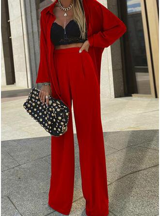 Sólido Elegante Casual blusa & Conjuntos de dos piezas establecer