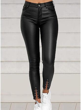 Pevný PU Dlouho Neformální Plus velikost Rozparek hlubokým výstřihem Knoflík Kalhoty