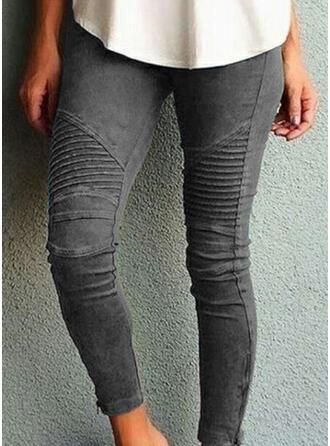 Striped Shirred Plus Size Skinny Yoga Plain Leggings