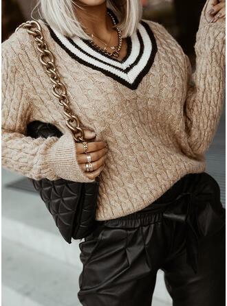 Impresión raya Punto De Cable Cuello en V Casual Suéteres
