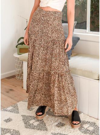 コットン 印刷 ミッドカーフ ラインスカート
