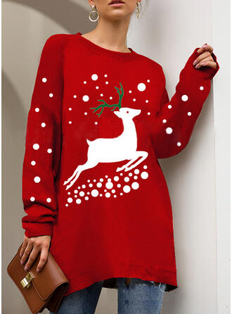Print Cartoon Round Neck Casual Christmas Ugly Christmas Sweater