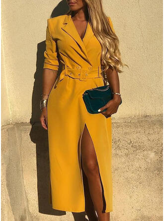 Solid 3/4 Sleeves Sheath Elegant Midi Dresses