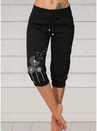 Impresión Diente de león Capris Casual Tallas Grande cordraystring Pantalones