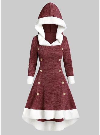 Colorblock Hosszú ujjú A-vonal Łyżwiaż Karácsony/Hétköznapokra Midi φορέματα