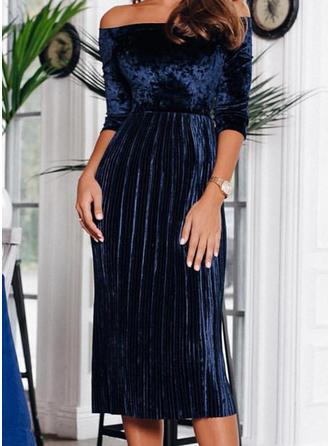 Solid 1/2 Sleeves A-line Vintage/Party/Elegant Midi Dresses
