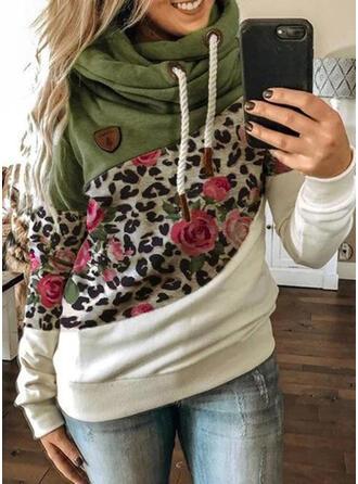 Trozos de color Floral Leopardo Manga Larga Sudadera Con Capucha